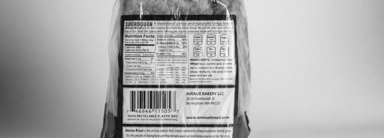 Nutrition Facts on the back of Avenue Bread Deli bread bags